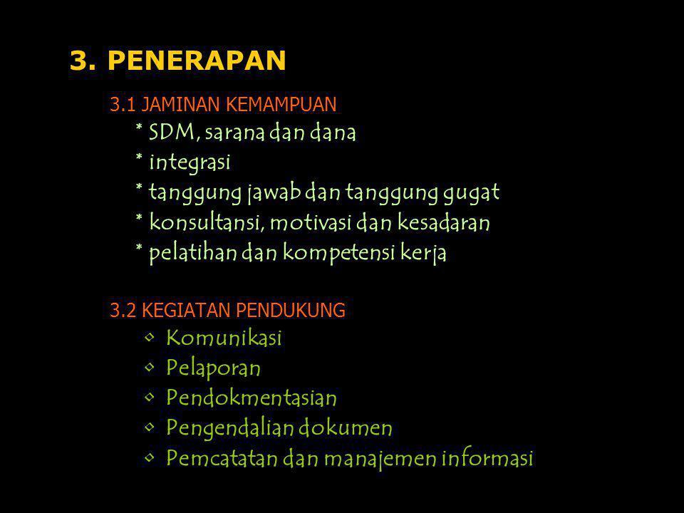 3. PENERAPAN * SDM, sarana dan dana * integrasi