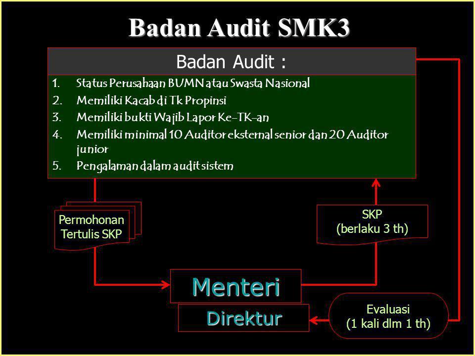 Badan Audit SMK3 Menteri Badan Audit : Direktur