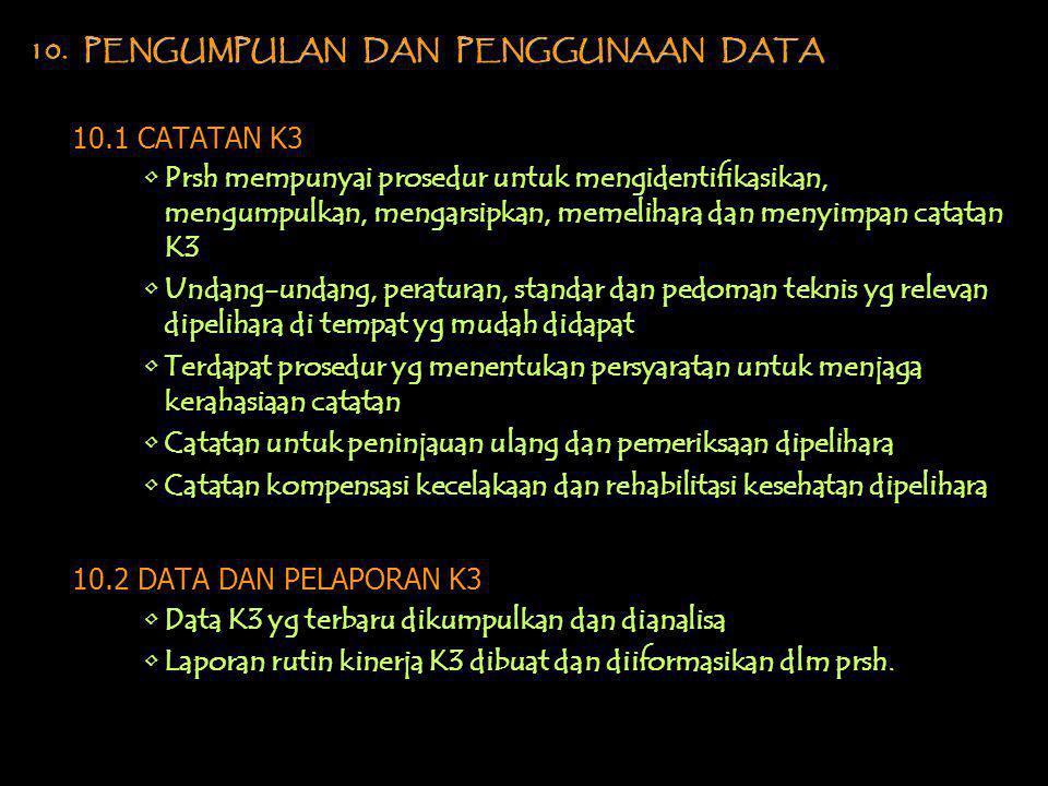 10. PENGUMPULAN DAN PENGGUNAAN DATA