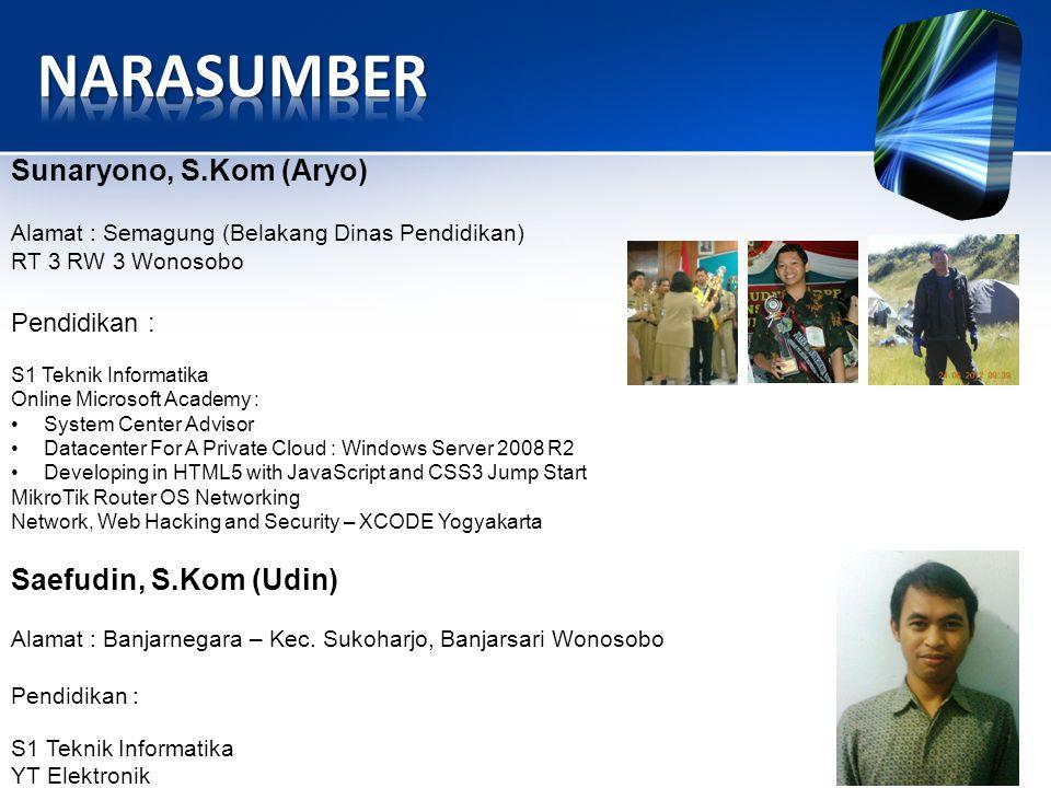 NARASUMBER Sunaryono, S.Kom (Aryo) Saefudin, S.Kom (Udin) Pendidikan :