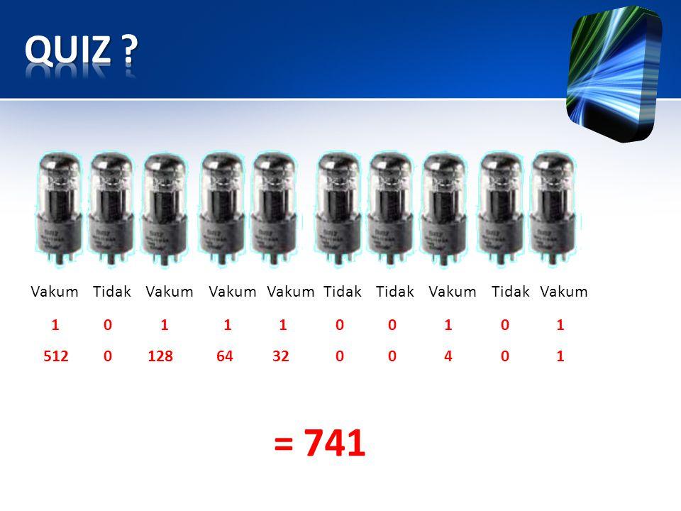 QUIZ = 741 Vakum Tidak Vakum Vakum Vakum