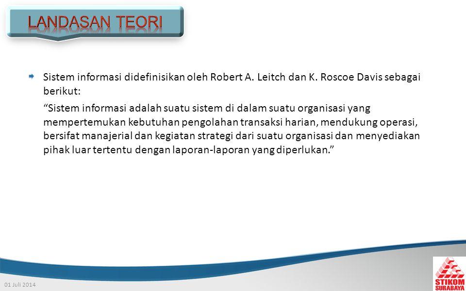 LANDASAN TEORI Sistem informasi didefinisikan oleh Robert A. Leitch dan K. Roscoe Davis sebagai berikut: