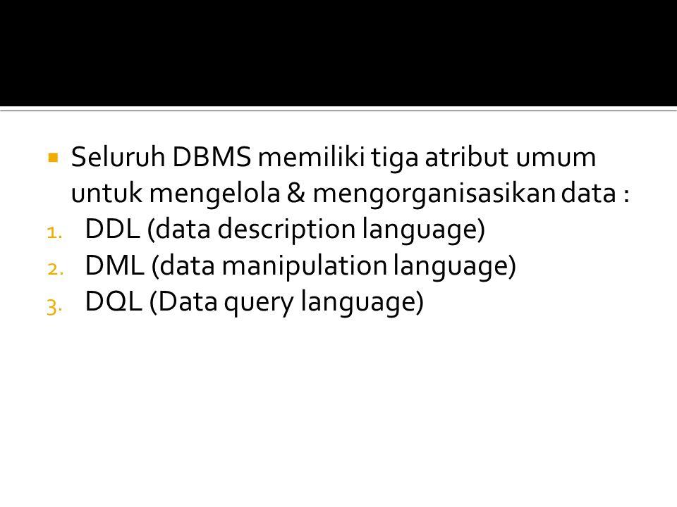 Seluruh DBMS memiliki tiga atribut umum untuk mengelola & mengorganisasikan data :