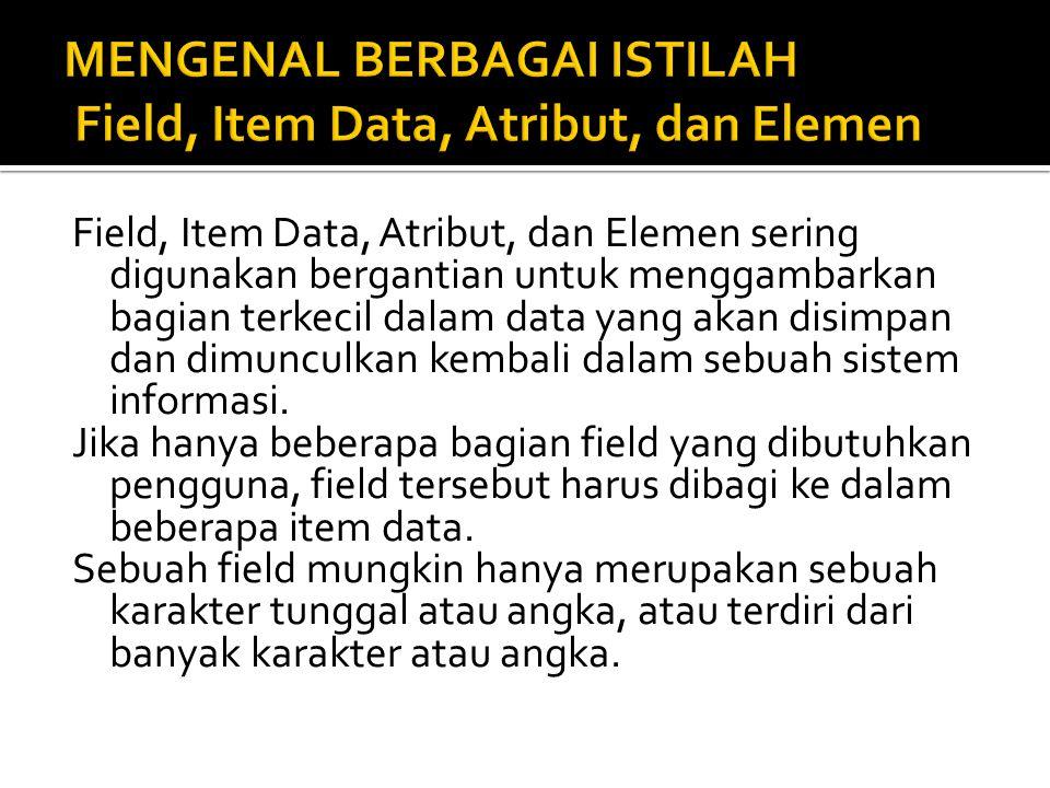 MENGENAL BERBAGAI ISTILAH Field, Item Data, Atribut, dan Elemen