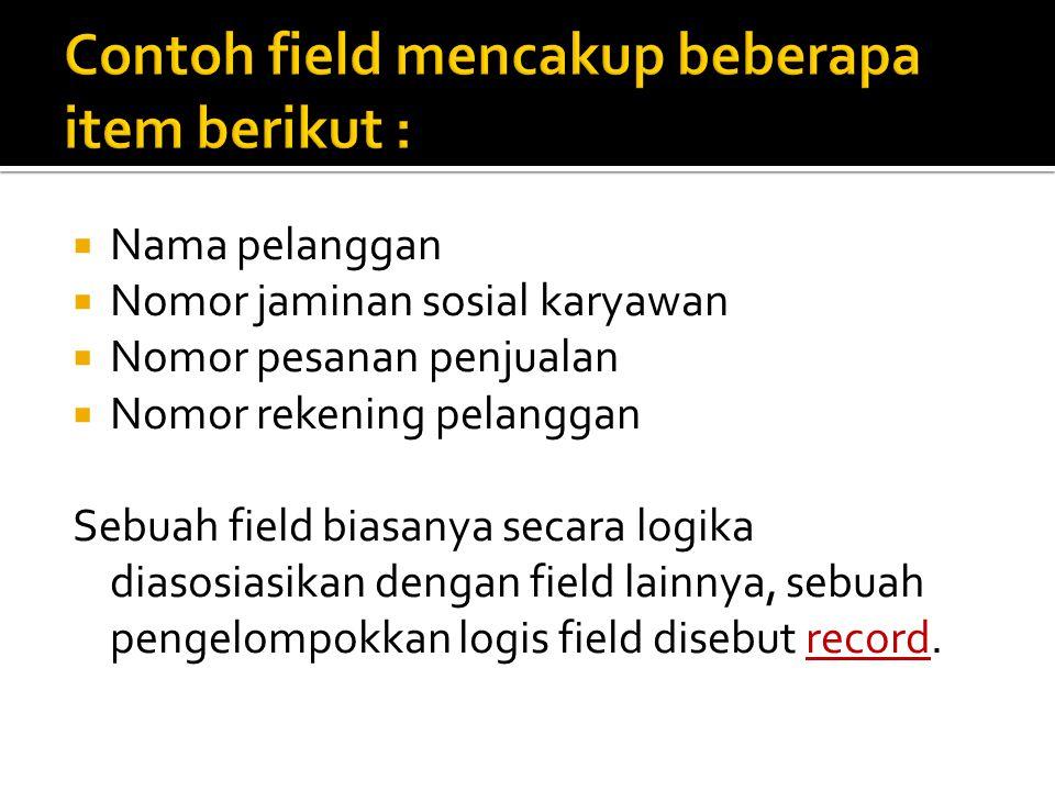 Contoh field mencakup beberapa item berikut :