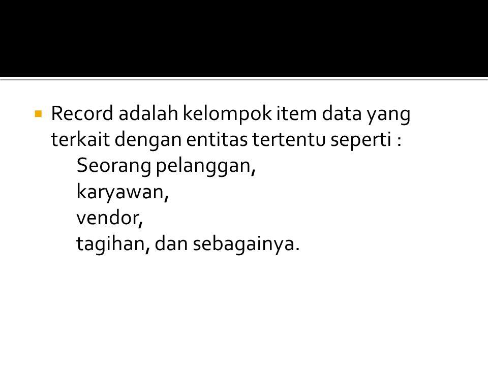 Record adalah kelompok item data yang terkait dengan entitas tertentu seperti :