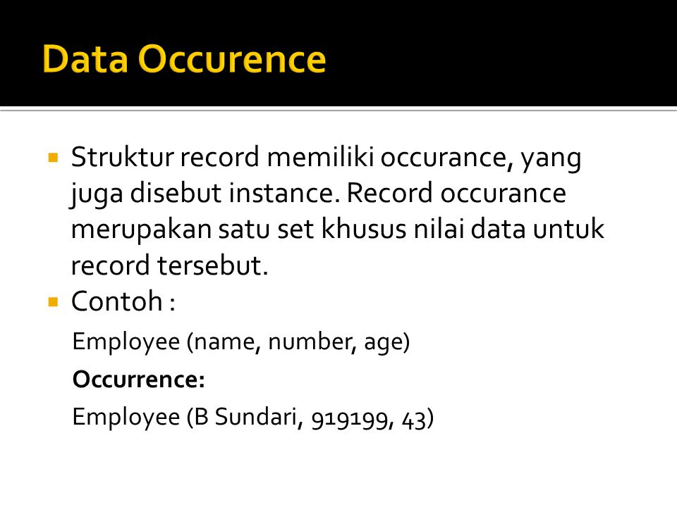 Data Occurence