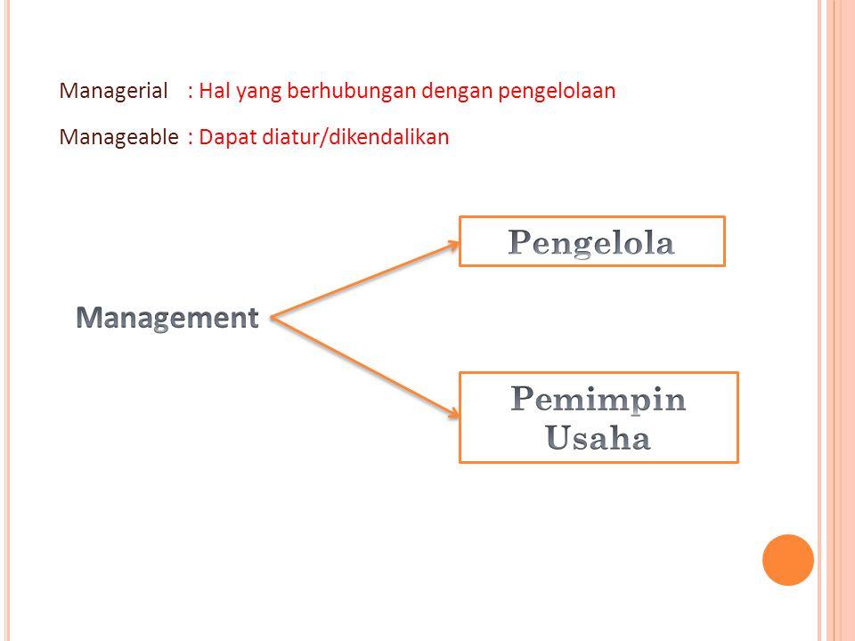 Pengelola Management Pemimpin Usaha Managerial