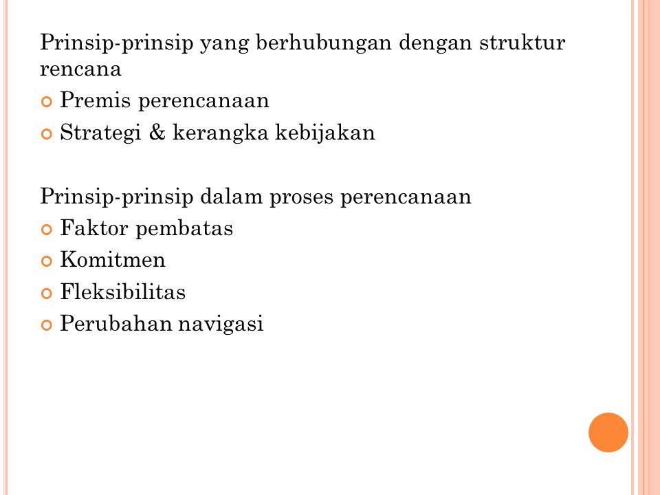 Prinsip-prinsip yang berhubungan dengan struktur rencana