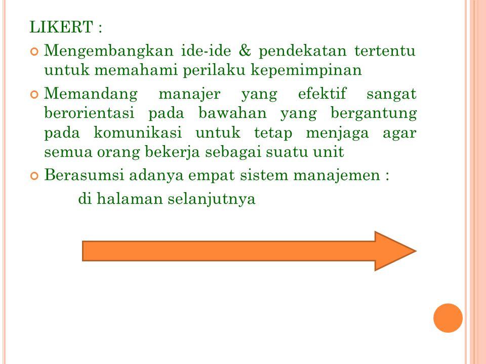 LIKERT : Mengembangkan ide-ide & pendekatan tertentu untuk memahami perilaku kepemimpinan.