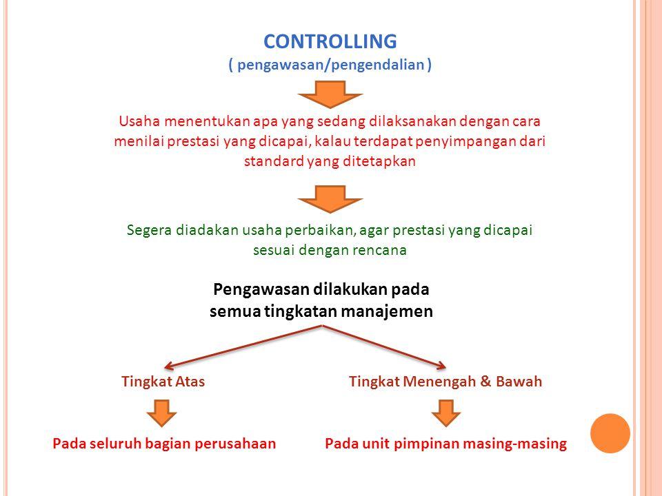 CONTROLLING Pengawasan dilakukan pada semua tingkatan manajemen