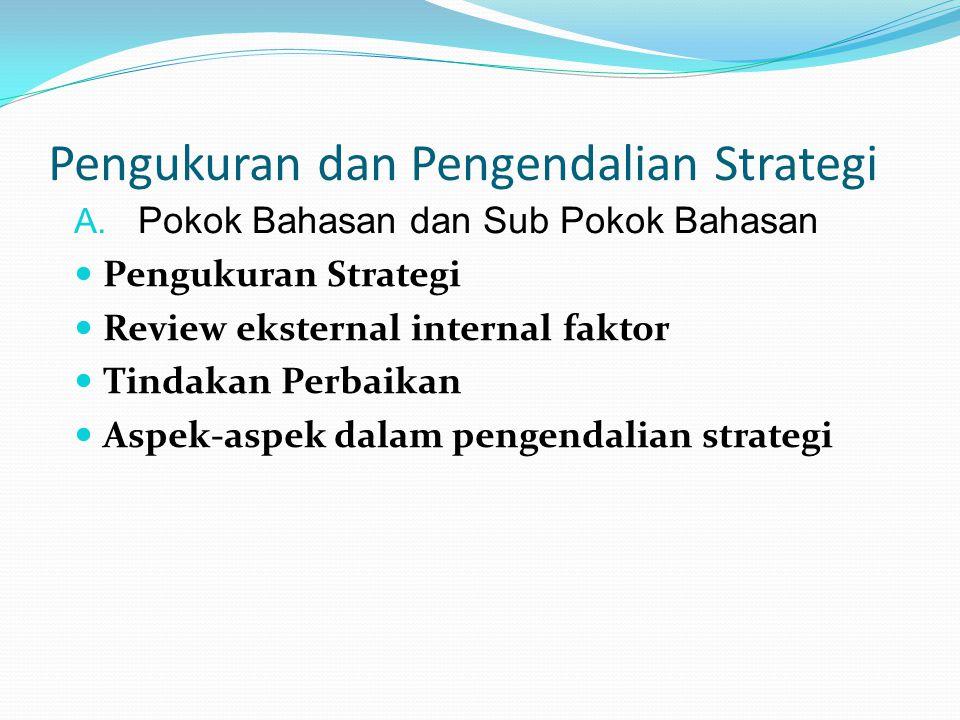 Pengukuran dan Pengendalian Strategi