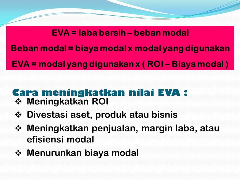 Cara meningkatkan nilai EVA :