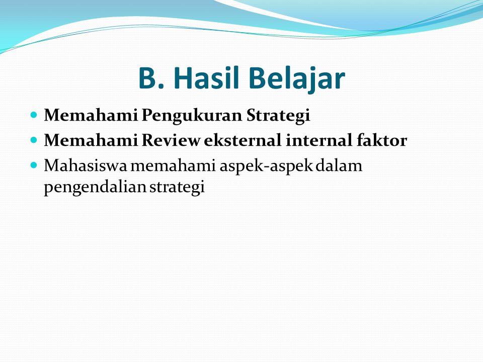 B. Hasil Belajar Memahami Pengukuran Strategi