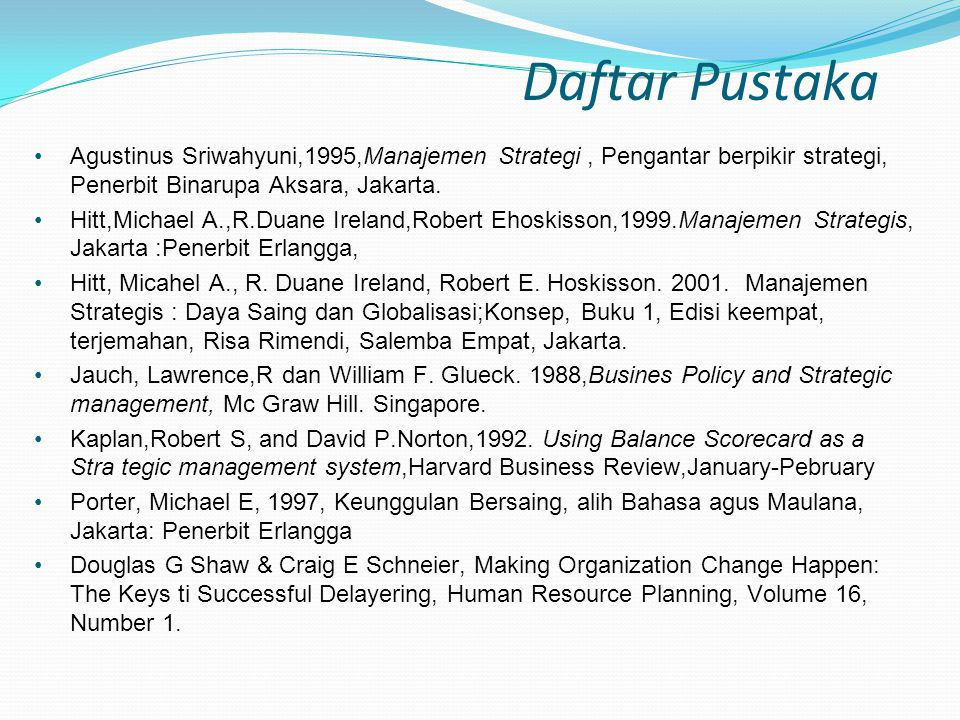 Daftar Pustaka Agustinus Sriwahyuni,1995,Manajemen Strategi , Pengantar berpikir strategi, Penerbit Binarupa Aksara, Jakarta.