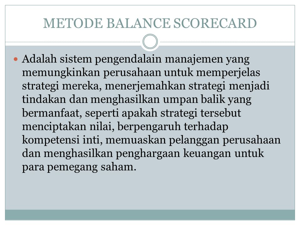 METODE BALANCE SCORECARD