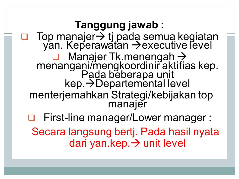 Top manajer tj pada semua kegiatan yan. Keperawatan executive level