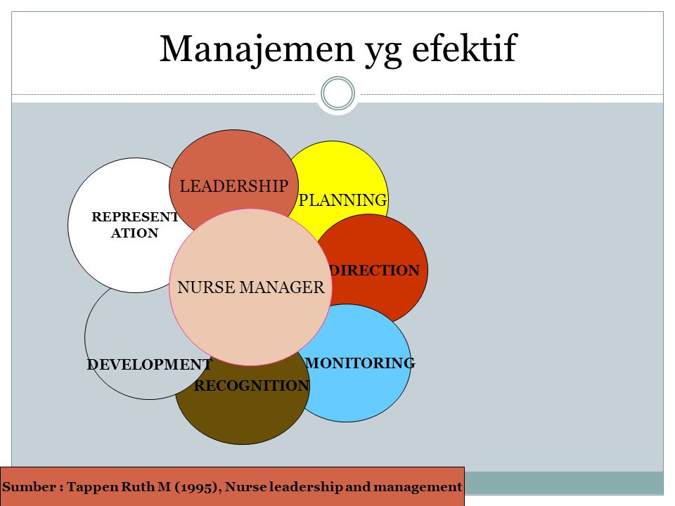 Sumber : Tappen Ruth M (1995), Nurse leadership and management