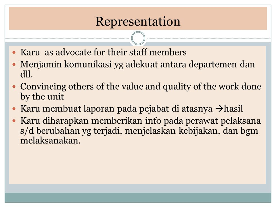 Representation Karu as advocate for their staff members