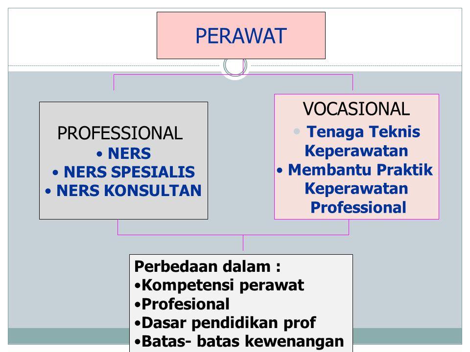 PERAWAT VOCASIONAL Tenaga Teknis PROFESSIONAL Keperawatan NERS