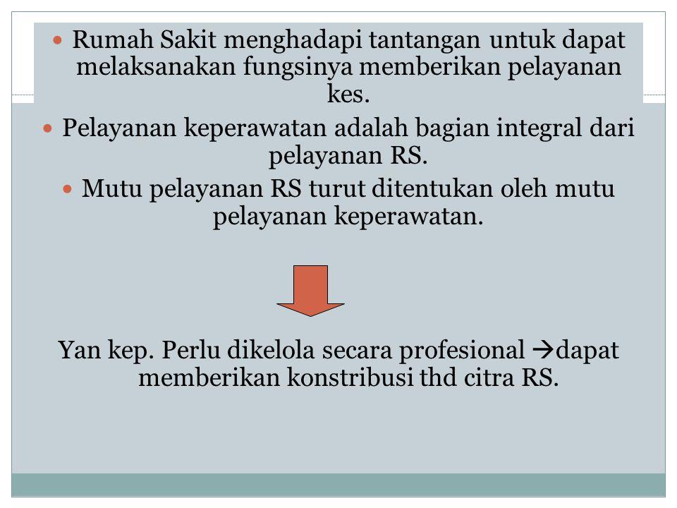 Pelayanan keperawatan adalah bagian integral dari pelayanan RS.