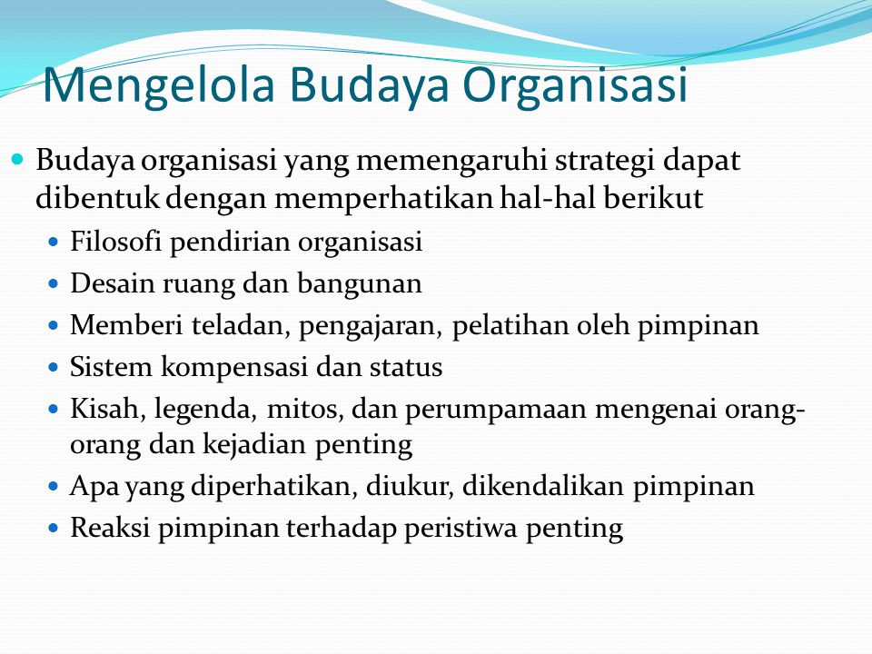Mengelola Budaya Organisasi