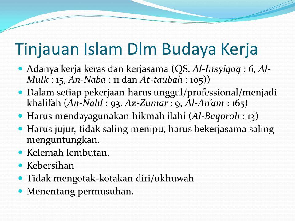 Tinjauan Islam Dlm Budaya Kerja