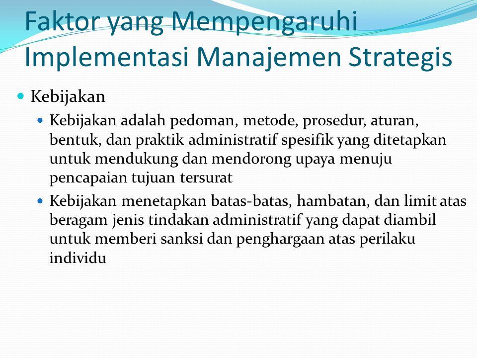Faktor yang Mempengaruhi Implementasi Manajemen Strategis