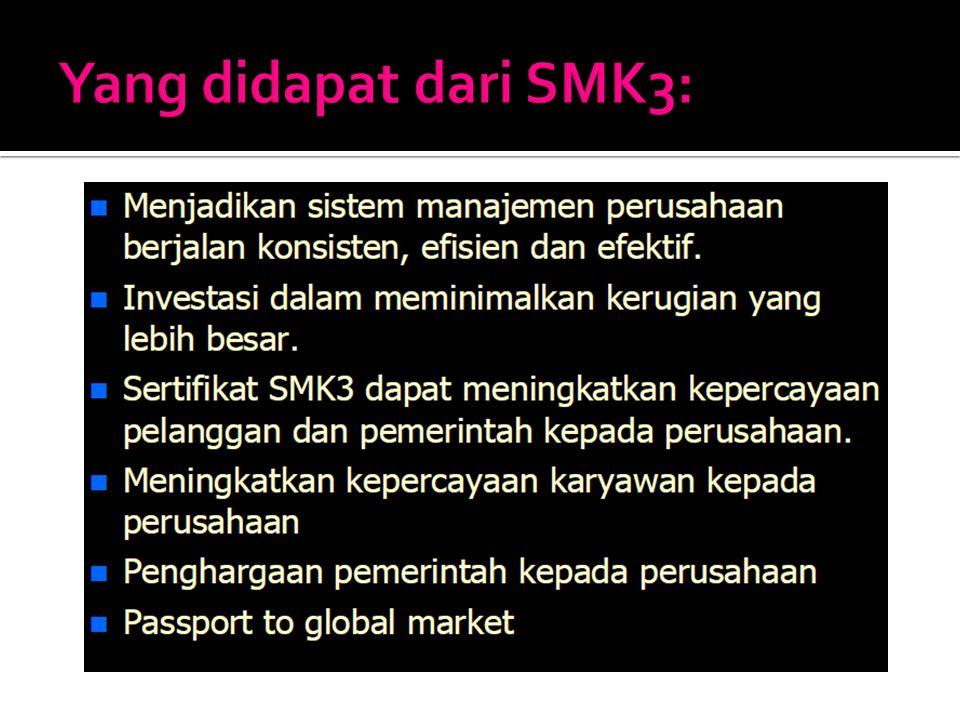 Yang didapat dari SMK3: