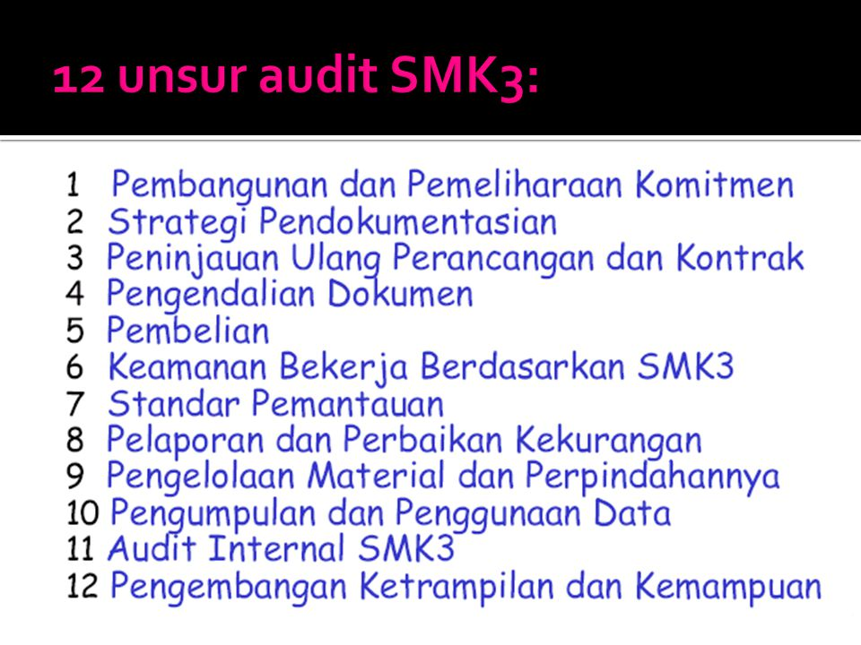 12 unsur audit SMK3: