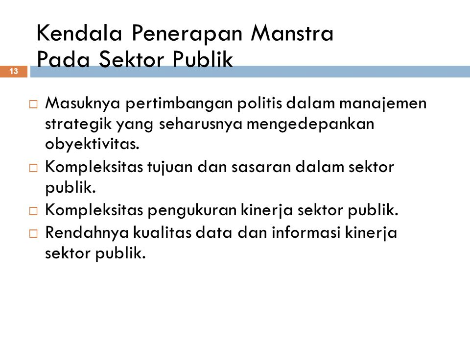 Kendala Penerapan Manstra Pada Sektor Publik