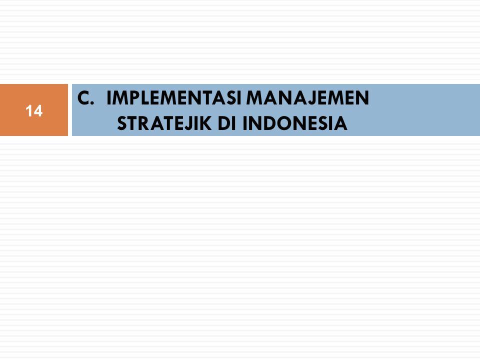 C. IMPLEMENTASI MANAJEMEN STRATEJIK DI INDONESIA