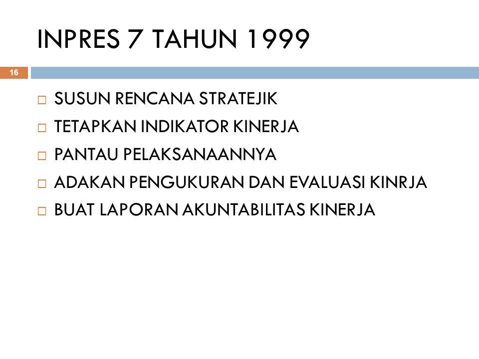 INPRES 7 TAHUN 1999 SUSUN RENCANA STRATEJIK TETAPKAN INDIKATOR KINERJA