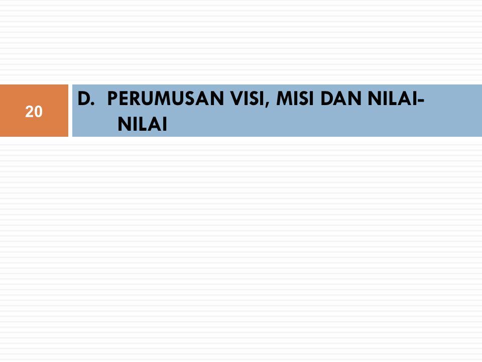 D. PERUMUSAN VISI, MISI DAN NILAI-NILAI