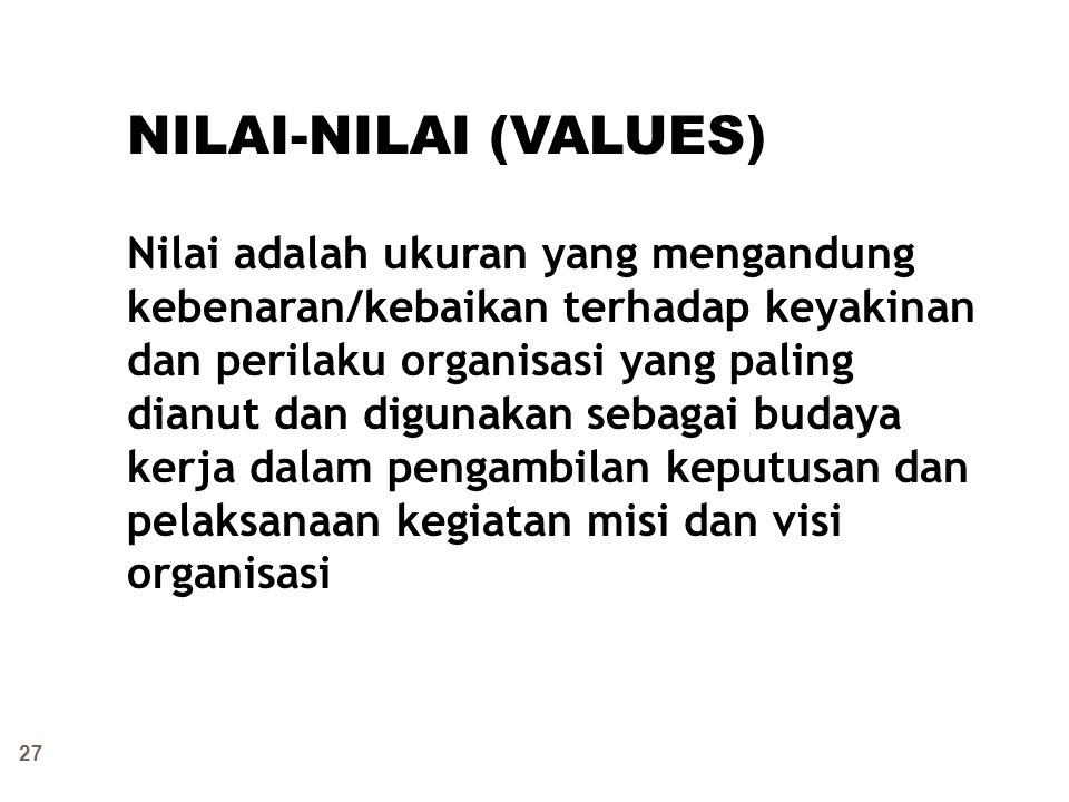 NILAI-NILAI (VALUES)