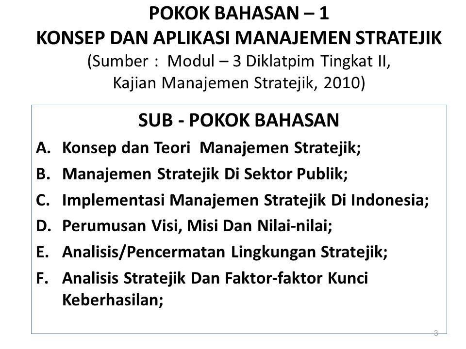POKOK BAHASAN – 1 KONSEP DAN APLIKASI MANAJEMEN STRATEJIK (Sumber : Modul – 3 Diklatpim Tingkat II, Kajian Manajemen Stratejik, 2010)
