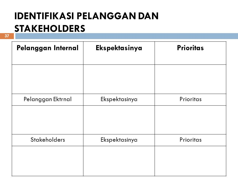 IDENTIFIKASI PELANGGAN DAN STAKEHOLDERS