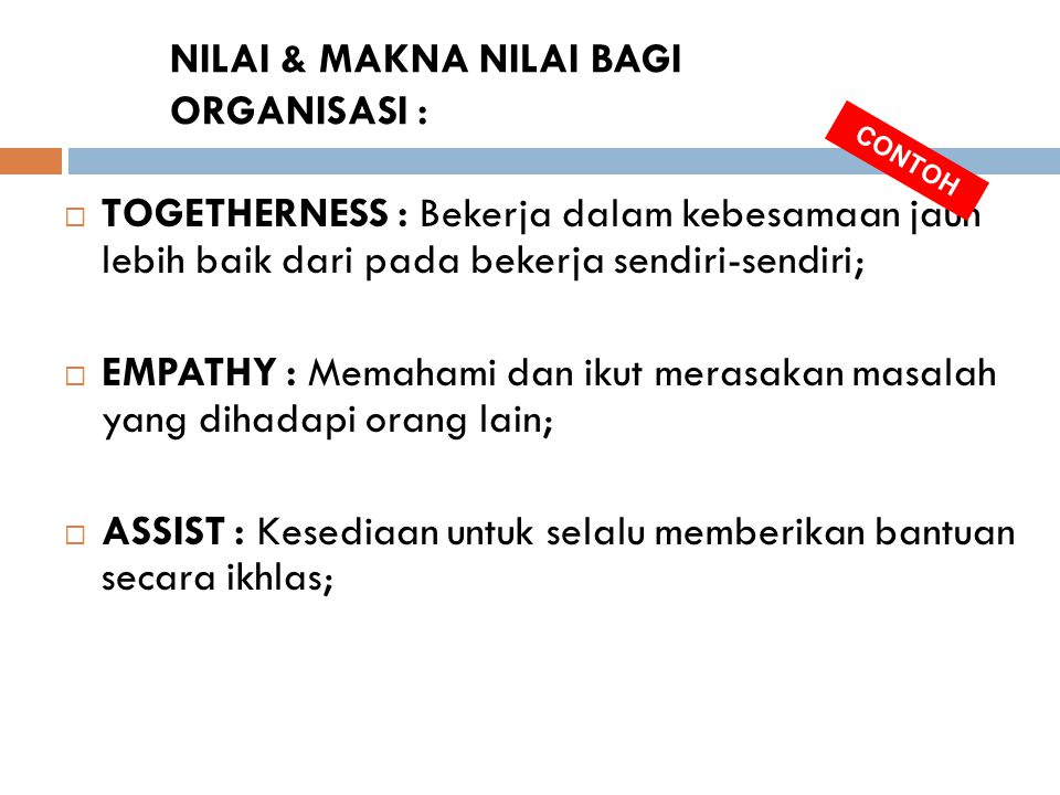 NILAI & MAKNA NILAI BAGI ORGANISASI :