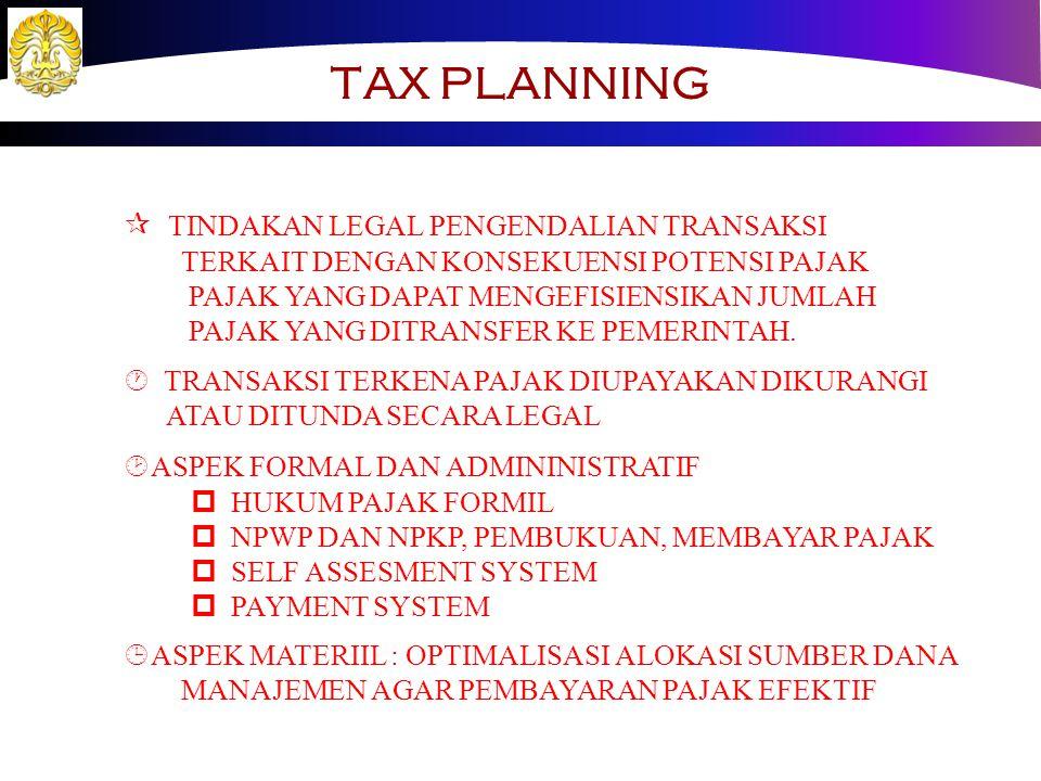 TAX PLANNING TINDAKAN LEGAL PENGENDALIAN TRANSAKSI