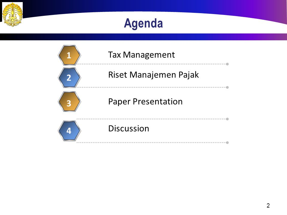 Agenda 1 Tax Management Riset Manajemen Pajak 2 Paper Presentation 3