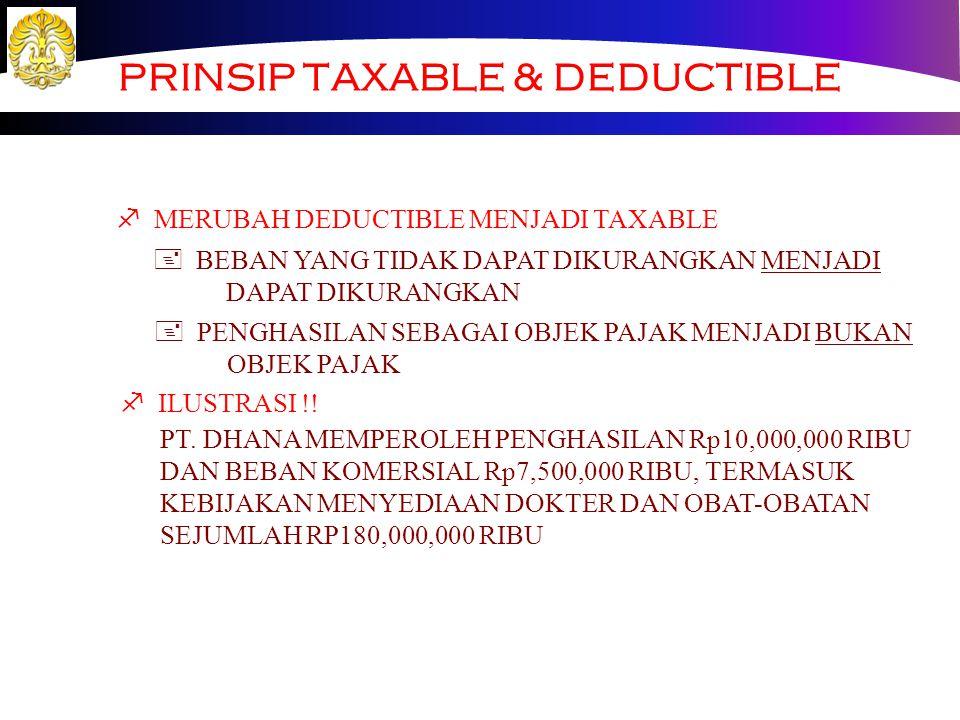 PRINSIP TAXABLE & DEDUCTIBLE