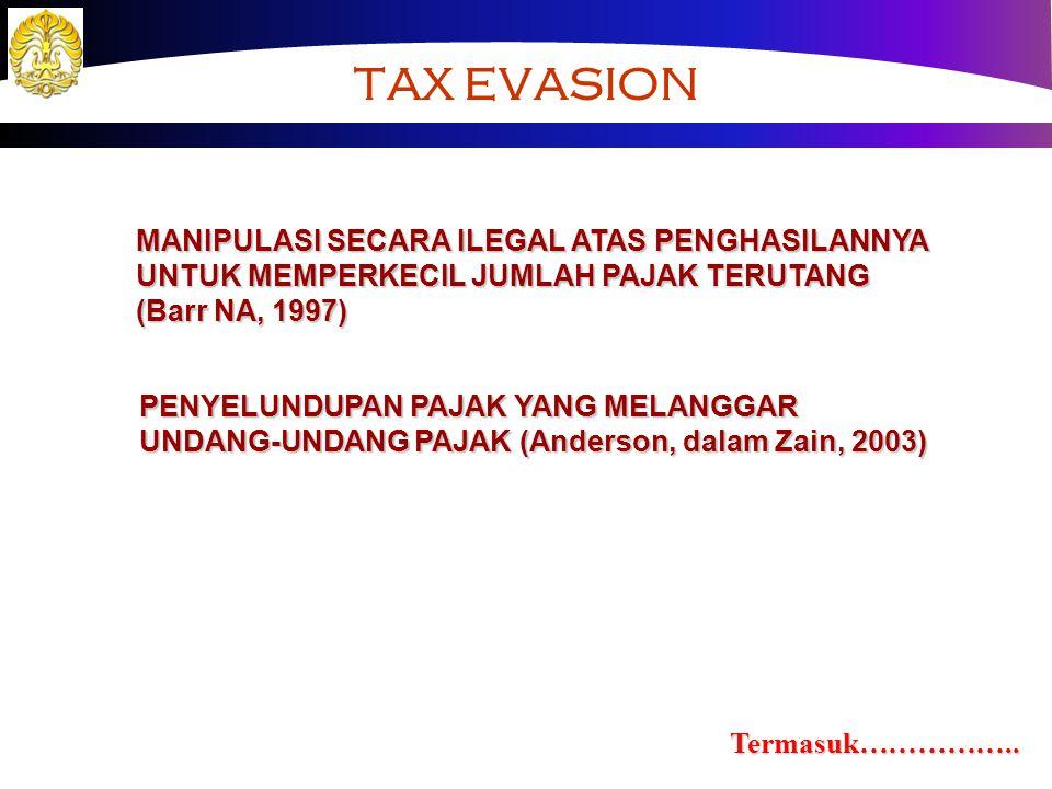 TAX EVASION MANIPULASI SECARA ILEGAL ATAS PENGHASILANNYA