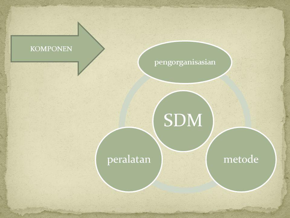 KOMPONEN SDM pengorganisasian metode peralatan