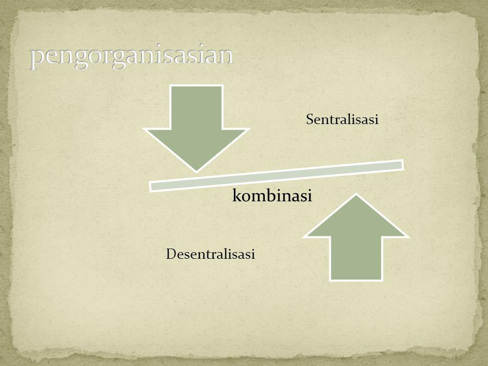 pengorganisasian Sentralisasi Desentralisasi kombinasi