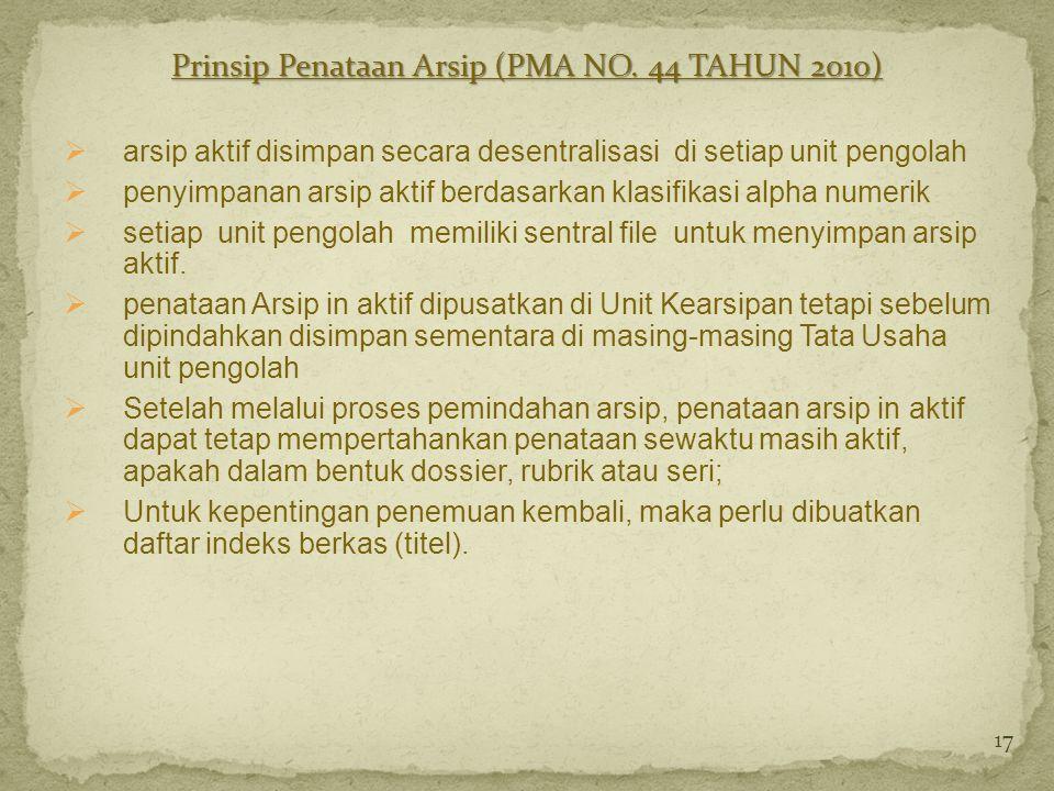 Prinsip Penataan Arsip (PMA NO. 44 TAHUN 2010)