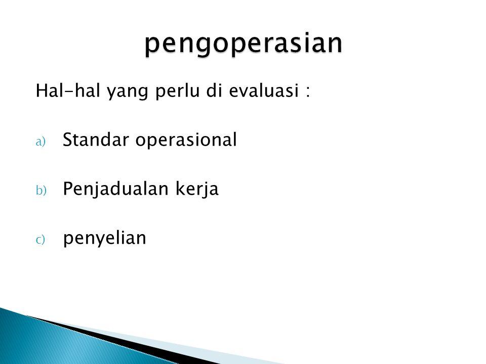 pengoperasian Hal-hal yang perlu di evaluasi : Standar operasional