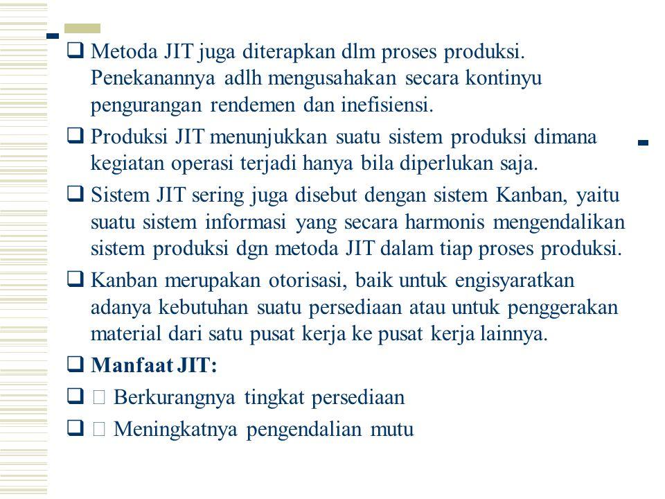 Metoda JIT juga diterapkan dlm proses produksi