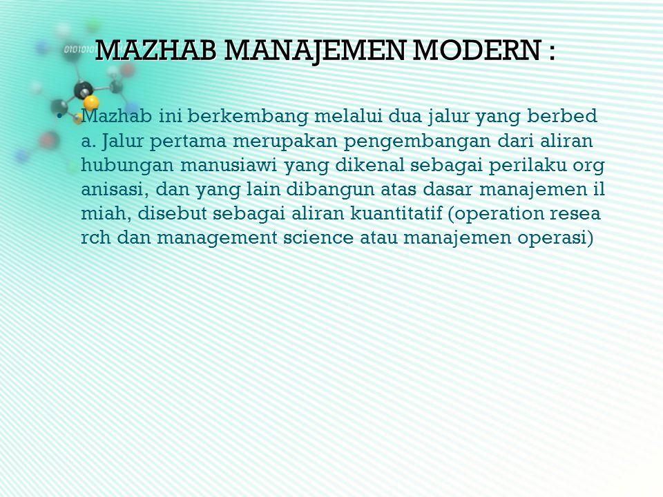 MAZHAB MANAJEMEN MODERN :