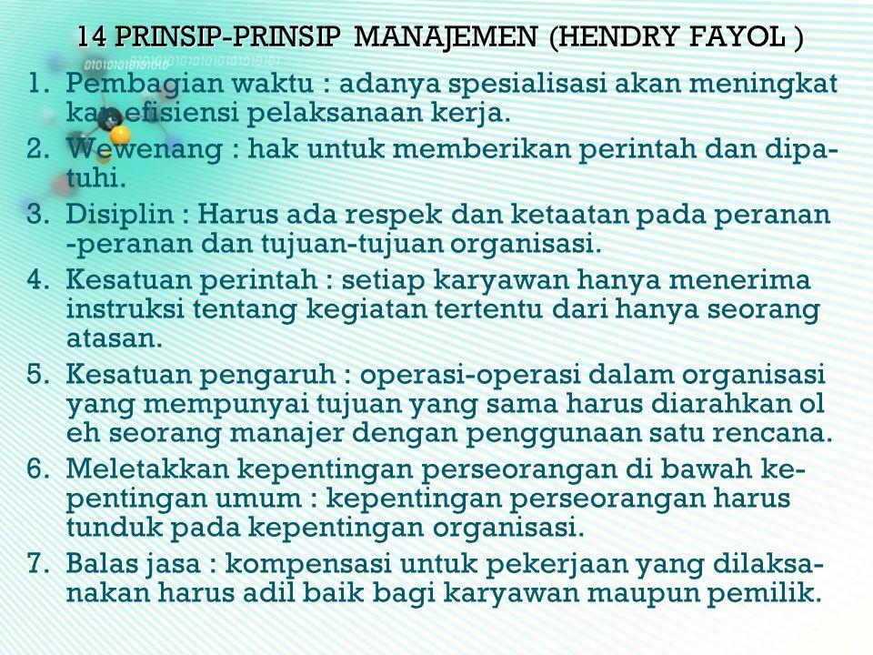 14 PRINSIP-PRINSIP MANAJEMEN (HENDRY FAYOL )