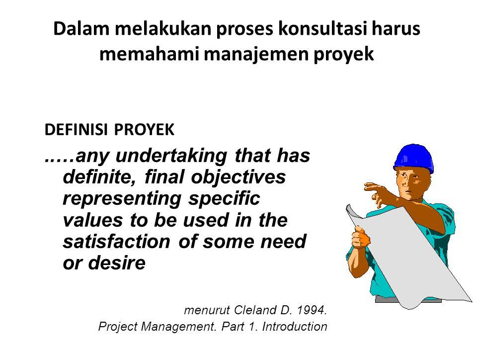 Dalam melakukan proses konsultasi harus memahami manajemen proyek